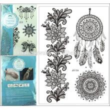 Flas Impermeable Tatuaje temporal Tatuaje Negro Mujeres Henna j013A Feather Lace Pulsera Joyas Tattoo Stick