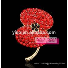 Nuevo broche cristalino de la flor del satement de la manera