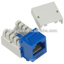 utp rj45 cat6 modular jack, cat6 keystone jack pass fulke test, keystone jack modula with blue color