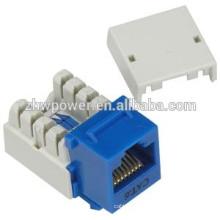 Utp rj45 модульное гнездо cat6, cat6 трапецеидальный патч гнездо pass fulke, модульный штекерный разъем с голубым цветом