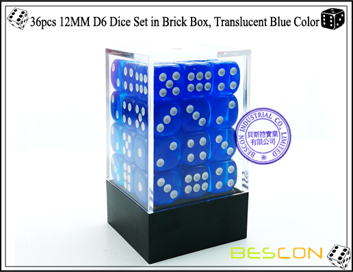 36pcs 12MM D6 Dice Set in Brick Box, Translucent Blue Color-1
