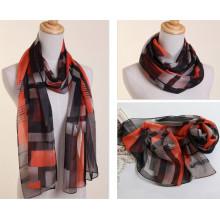 Lady Fashion imprimé foulard en soie en mousseline de soie de polyester (YKY1005)