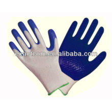 13 GUAGE NYLON GARDEN SAFETY WHITE POLYESTER LINED GLOVE COATED WITH BLUE NITRILE DOTS ON PALM