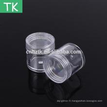 Pot en plastique 7g10g15g20g25g30g pour l'emballage de poudre pour paillettes à ongles