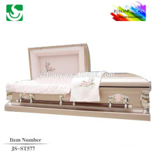 velvet lining brown finish 16 gauge metal casket