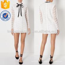 Vestido de manga larga blanco Vestido de encaje Fabricación al por mayor Ropa de mujer de moda (TA4074D)