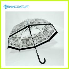 Logotipo personalizado marca impresa recta transparente paraguas de PVC