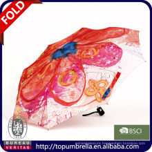 cheap 21 inches fashional 3 folding umbrella with printed design