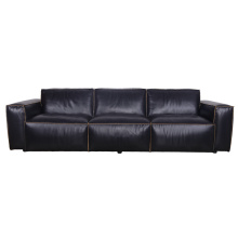 Ретро стиль черный итальянский кожаный диван большого размера