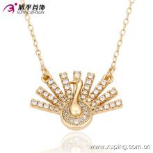 Moda charme pavão ostentando sua cauda colar de jóias banhado a ouro -42821