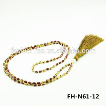 Fashionme neon beaded collar bali tassel necklace