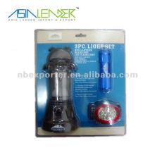 Ensemble de lanternes LED de 15 LED avec lampe de poche et phare