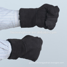 Men's fashion suede leather gloves with fur lining