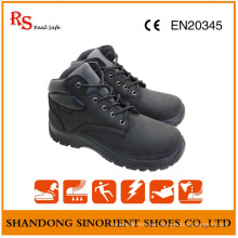Black Cow Nubuck Leather Steel Toe Safety Shoes Made in China