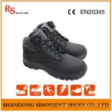Sapatos de segurança de dedo de couro de couro preto vaca Nubuck feitos na China
