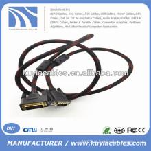 Gold Plated 5ft DVI -I link duplo para VGA cabo masculino para macho com suporte de rede de nylon 3D 1080P