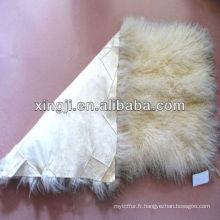 assiette en fourrure d'agneau tibet agneau mongol couleur blanc naturel