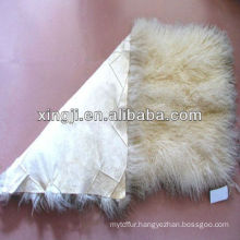 tibet lamb fur plate Mongolian lamb natural white color