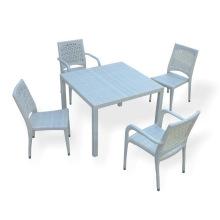PE Rattan mesa e cadeira ao ar livre conjunto, jardim confortável