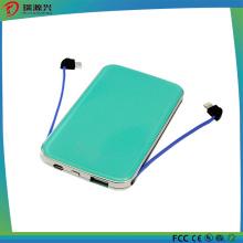 5000mAh Universal Dual USB Super Slim Poratble Cable Power Bank