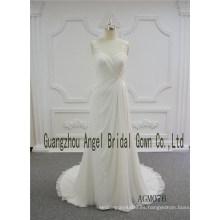 Estilo de la envoltura con el vestido de boda del escote del amor del doblez de la tela de la gasa