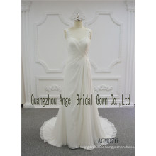 Sheath Style with Chiffon Fabric Fold Sweetheart Neckline Wedding Gown