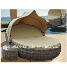 Outdoor Patio Garden Sun Lounger Canopy Wicker Rattan Day Bed