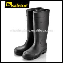 Botas de goma negro, botas de acero de la goma del dedo del pie, botas de goma de plástico S4 / S5 W-6037