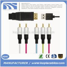 Varón de HDMI a 5RCA RGB con el cable audio del Vedio del chipset Directamente usb 1M los 1.5M 1.8M