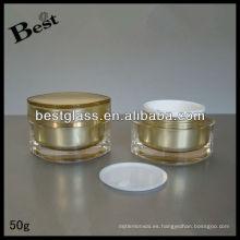 Muestra libre del tarro vacío de la crema de acrílico 50g, tarro poner crema de acrílico de la forma del ojo