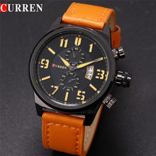 curren antique watch alloy case with leather belt wristwatch
