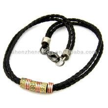 Punk estilo de jóias masculina Trançado couro cadeia colar de clavícula