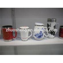 China top 10 vendendo produtos caneca de cerâmica com base de aço inoxidável, custom impresso caneca térmica