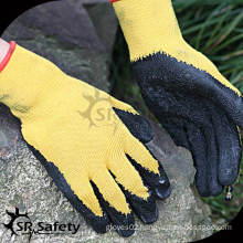 SRSAFETY 10 gauge polycotton liner coated grey latex working gloves,economy style