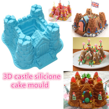 Molde do bolo do silicone do castelo 3D