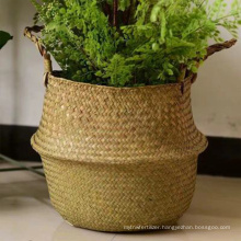 Eco-friendly handmade seagrass woven flower basket durable flower girl baskets for home plants decoration