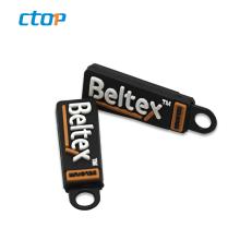 Wholesale 3.5*1.0cm eco-friendly black or customized soft brand custom zipper puller fashion pvc zipper puller zipper head