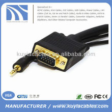 SVGA VGA macho a macho con cable de audio estéreo de 3.5 mm para PC TV