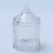 Hand Made Popular Clear Glass Ribbed Jar For Food