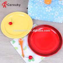 "8"" round embossed ceramic stoneware plate"