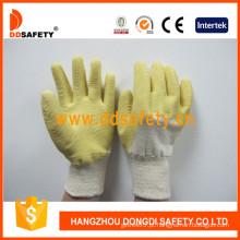 Luva de trabalho forro de algodão terminado amarelo látex (dcl403)