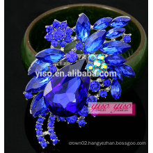 colored bouquet flower rhinestone crystal clover brooch