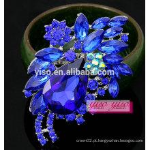 Ramo colorido broche de trevo de cristal de strass flor