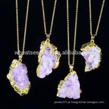 Moda cristalina ametista jóias com pedras naturais, colar de pingente