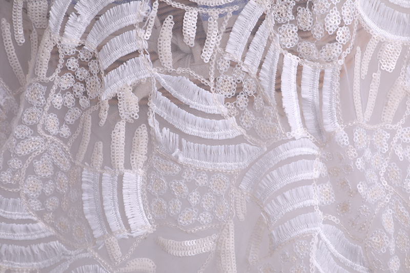 3D Sequin Mesh Embroidery Fabric