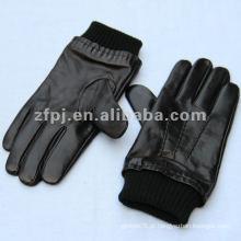 Novo estilo homens inverno luva de couro genuíno preto