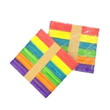 Hot sale 114mm*10mm*2mm multi color birch wood ice cream sticks for kid diy craft