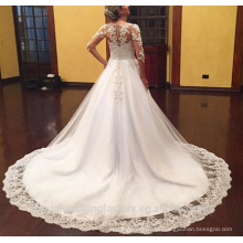 2016 Vestido De Noiva príncipes de encaje vestido nupcial Appliques manga larga vestidos de boda hinchada CWF2329