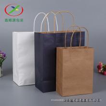 Manija de embalaje de compras de bolsas de papel Kraft marrón