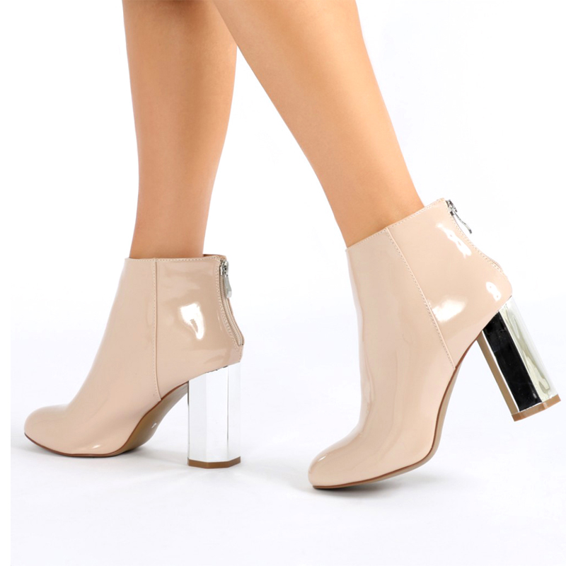 roma heel beige PU short ankle boots